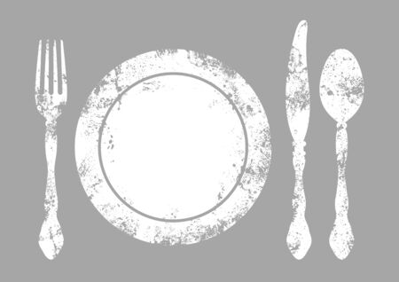 Cutlery With Plate Background White And Gray Vettoriali