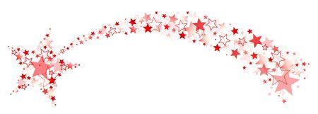 Grafik Sternschnuppe mit Schwanz aus großen und kleinen Sternen Rot
