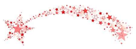 Graphic Falling Star With Tail Out Of Big And Little Stars Red