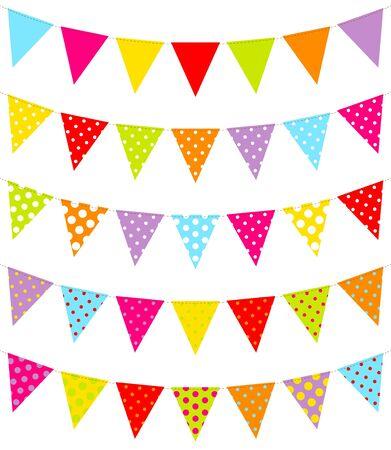 Set Of Five Colorful Pennants Dots Pattern Иллюстрация