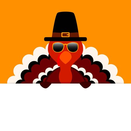 Thanksgiving Turkey Sunglasses Pilgrim Holding Horizontal Banner Orange