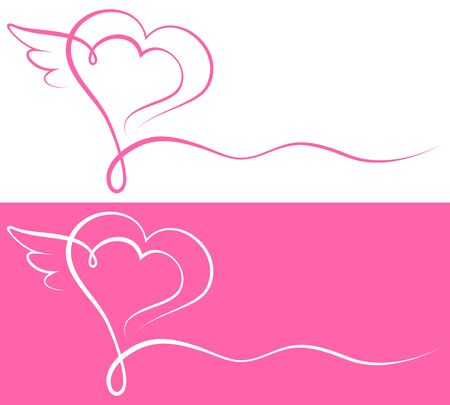 Graphic Calligraphy Heart With Wings Pink And White