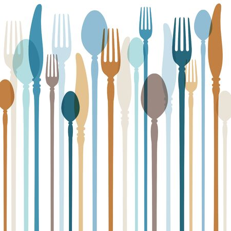 Square Abstract Cutlery Background With Retro Blue And Brown Colors