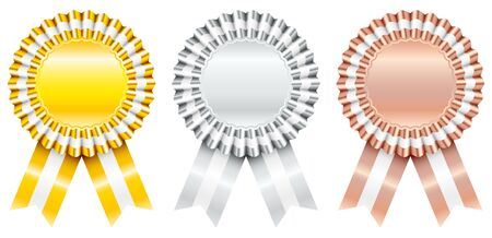 Set Of Three Award Badges Gold Silver Bronze With Striped Ribbon