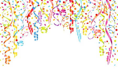 Horizontal Background Different Colorful Streamers And Confetti Ilustração Vetorial