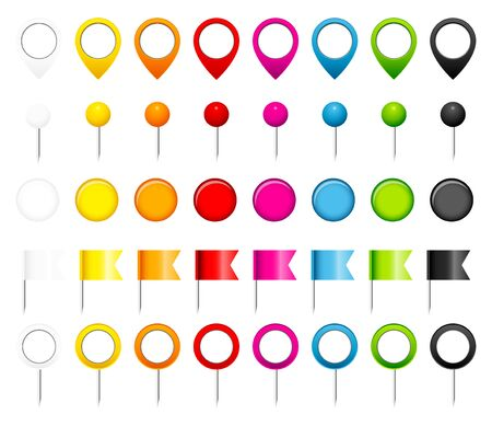 Five Different Pins Flags Pointers And Magnets Eight Colors
