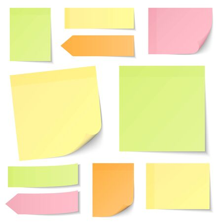 Set Of Different Sticky Notes Light Yellow Green Pink Orange 스톡 콘텐츠 - 128891360