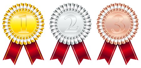 Award Badges Red Ribbon Small Stripe 1-Gold 2-Silver 3-Bronze Фото со стока - 128891353
