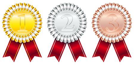 Insignes de récompense Ruban Rouge Petite Rayure 1-Or 2-Argent 3-Bronze