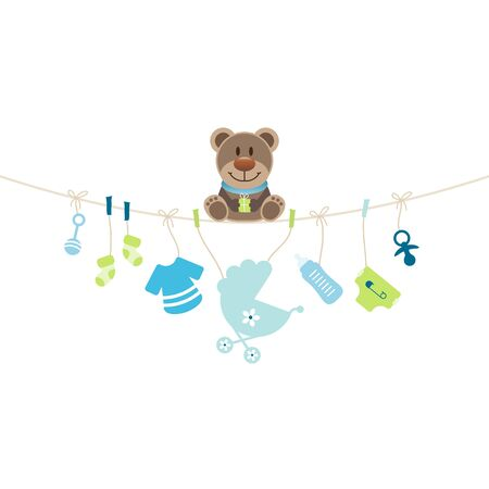 Teddy Sitting On String Curve Holding Hanging Baby Icons Boy