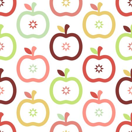 Seamless Pattern Graphic Apples Retro Autumn Colors