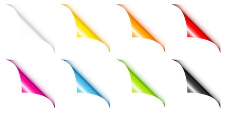 Set Of Eight Colorful Web Corners Angled White Background 스톡 콘텐츠 - 128891369