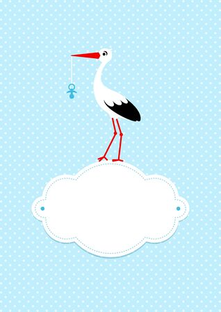 Baby Boy Card Stork On Cloud With Pacifier Dots Background Blue 일러스트
