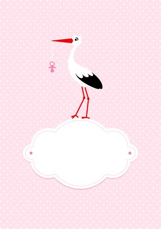 Baby Card Girl Stork On Cloud With Pacifier Dots Background Pink