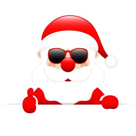 Santa Sunglasses Holding Horizontal Banners One Thumb Up