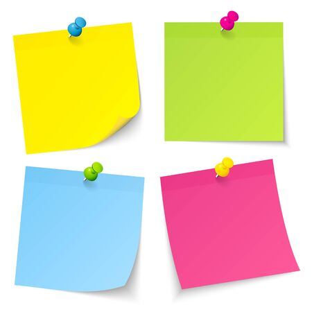 Set Of Four Sticky Notes With Pins Yellow Green Blue Pink Zdjęcie Seryjne - 128891465