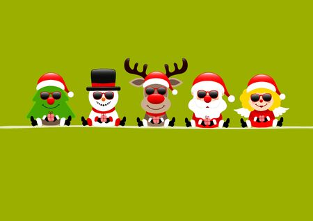 Light Green Card Tree Snowman Reindeer Santa And Angel With Sunglasses Иллюстрация