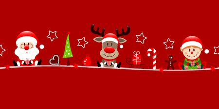 Banner Santa Reindeer And Elf Christmas Icons Red