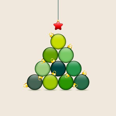 Albero Di Natale Astratto Fatto Di Palline Verde Rosso Oro Beige Vettoriali