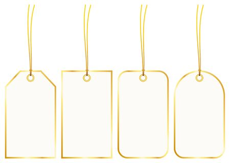 Set Of Four Hangtags With Golden Frame 일러스트