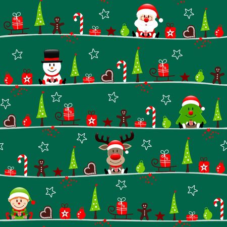 Seamless Pattern Christmas Figures With Elf Dark Green Illustration