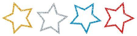 Set Of Four Twisted Stars Frame Sparkling Gold Silver Red Blue Illustration