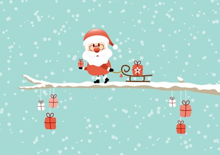 Santa Pulling Sleigh With Gift On Bough Turquoise Standard-Bild - 128891723