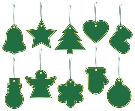 Set Of Ten Christmas Hangtags Green With Golden Frame