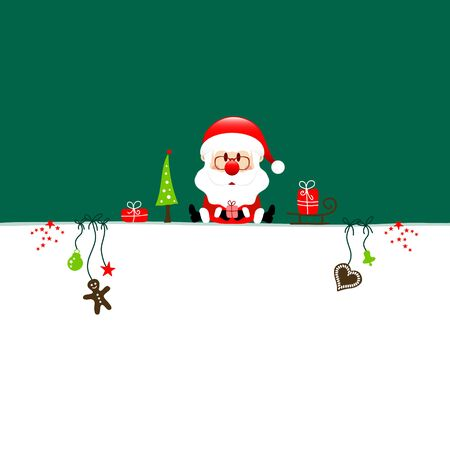 Wish List Christmas Santa And Icons Dark Green Background Illustration