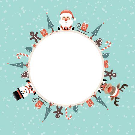 Round Frame Santa Rudolph Snowman Icons Snow Turquoise Stock Illustratie