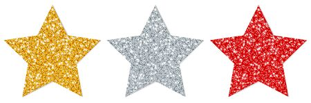 Set Of Three Straight Stars Sparkling Gold Silver Red
