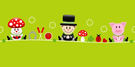 Fly Agaric Chimney Sweep And Pig Icons New Years Eve Green