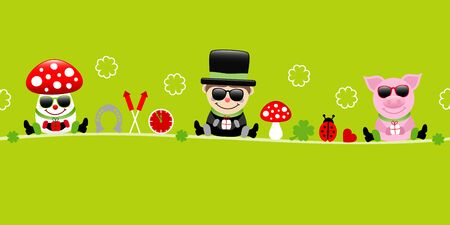 Fly Agaric Chimney Sweep And Pig Sunglasses Icons New Years Eve Green Illusztráció