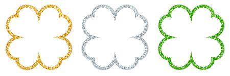 Set Of Three Straight Shamrocks Frame Sparkling Gold Silver Green Illustration