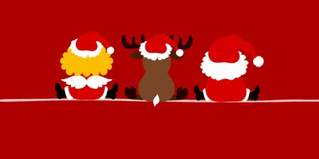 Banner Angel Reindeer And Santa Claus From Behind Red