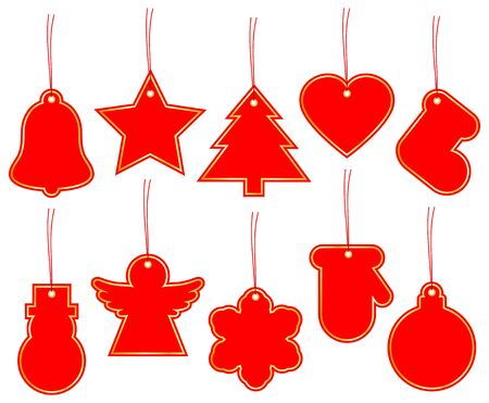 Set Of Ten Christmas Hangtags Red With Golden Frame Illustration