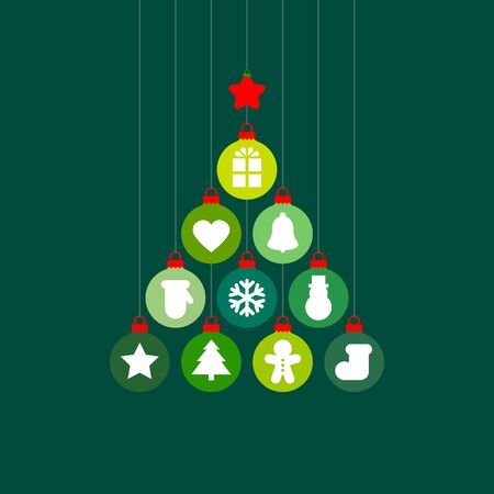 Graphic Christmas Tree Baubles With Icons Green Red