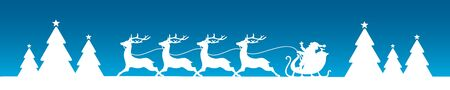Banner Running Christmas Sleigh With Forest Blue Background