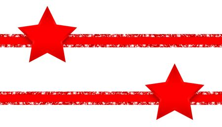 Horizontal Glitter Ribbons With Shining Red Stars