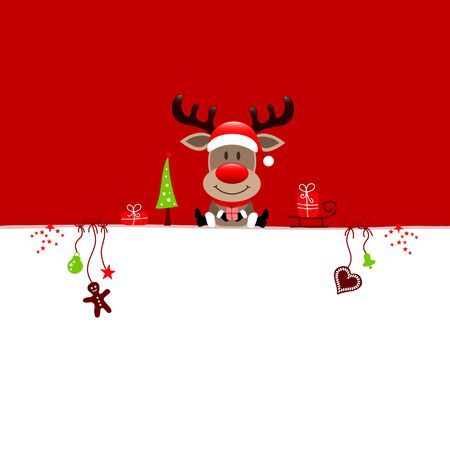 Wish List Christmas Reindeer And Icons Red And White