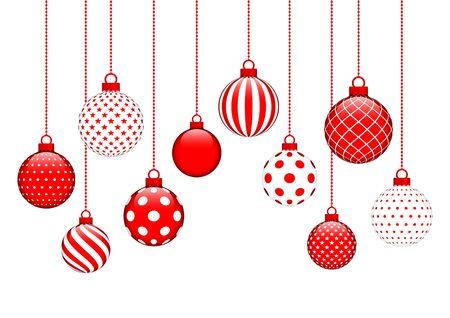Kaart tien hangende kerstballen patroon rood en wit