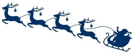 Dark Blue Christmas Sleigh Santa And Four Flying Reindeer's Baubles