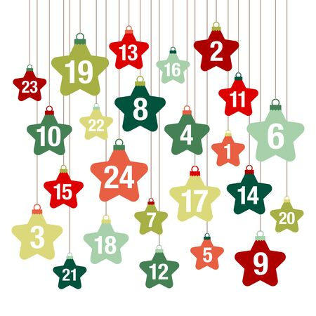 Square Advent Calendar Hanging Stars Red And Green