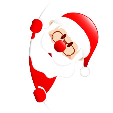 Santa On The Right Side Round Banner