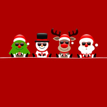 Square Christmas Card Tree Snowman Reindeer And Santa Sunglasses Red