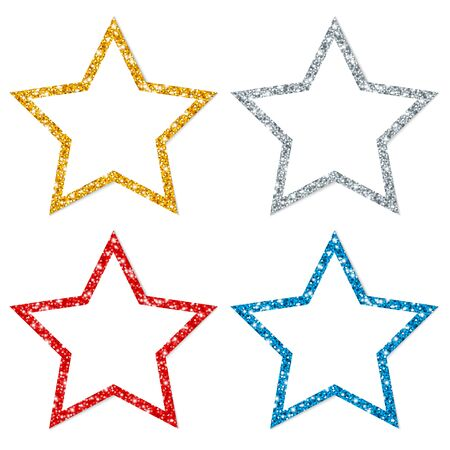 Square Set Of Four Twisted Stars Frame Sparkling Gold Silver Red Blue Illustration