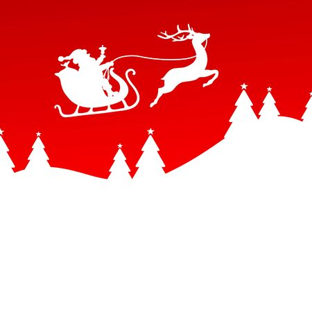 Santa And Christmas Sleigh One Reindeer Forest Red