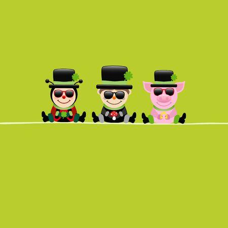 Square Card Ladybug Chimney Sweep and Pig Sunglasses Cylinder Green 일러스트