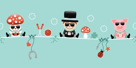 Fly Agaric Chimney Sweep And Pig With Sunglasses Icons New Years Eve Turquoise 일러스트