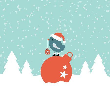 Bird On Christmas Ball Snow Forest Turquoise 일러스트